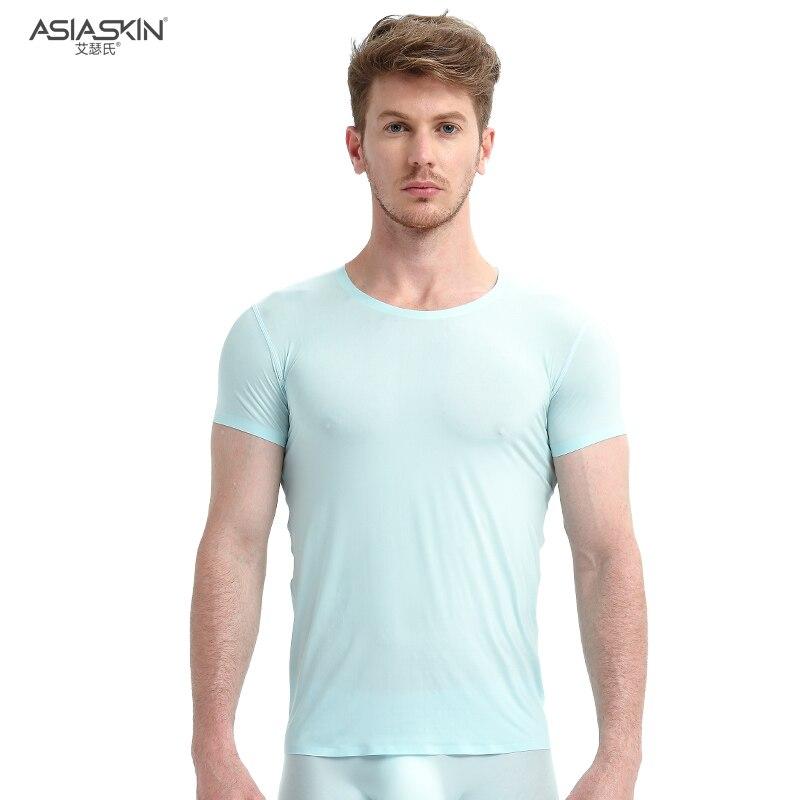 AsiaSkin Ultra fino seda de hielo suave y sin seguimiento Camiseta de manga corta Sexy de moda para hombres medio a través de la camiseta delgada de fondo 021-s