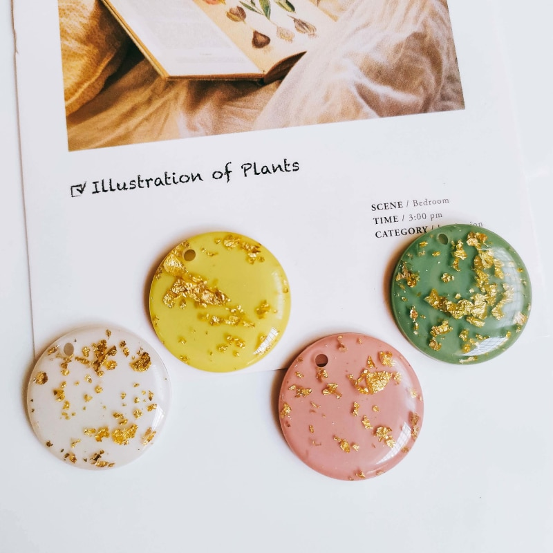 Colgantes redondos de plástico acrílico con forma de gota de oro, accesorios para collar, abalorios, componentes de joyería, Material Diy, 8 Uds
