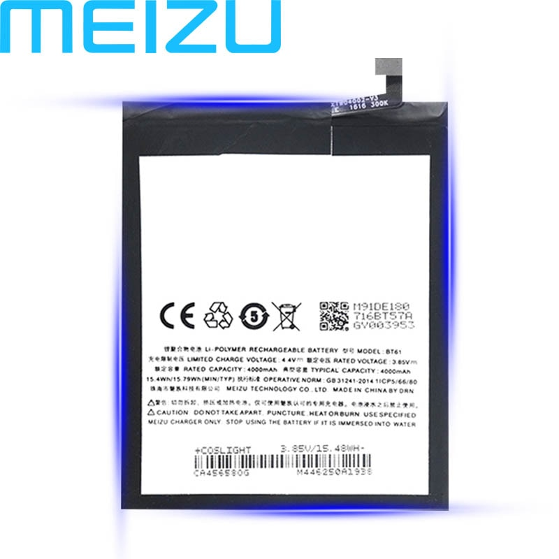 Meizu Original 4000mAh BT61 Battery For Meizu M3 Note L681 L681H Mobile Phone Latest Production new Battery+Tracking Number
