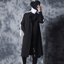 Autumn 2019 new Korean trend seven-minute sleeve trench coat men long men loose casual cape coat trend.