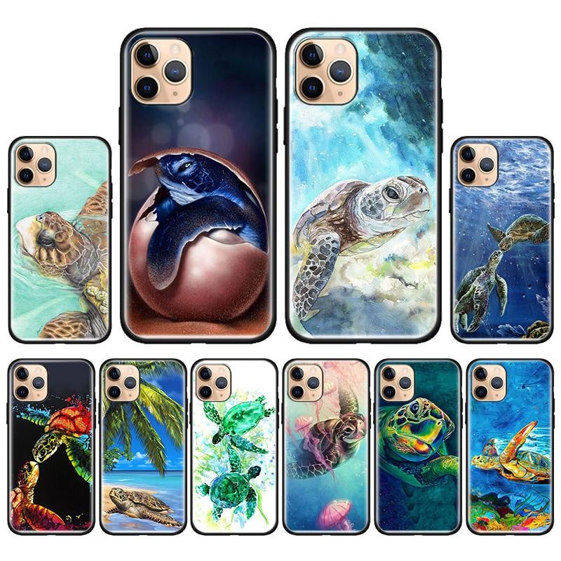 Funda de silicona de tortuga marina para iPhone SE 2020 7 8 Plus 11 Pro Max X XR XS MAX 6 6s Plus