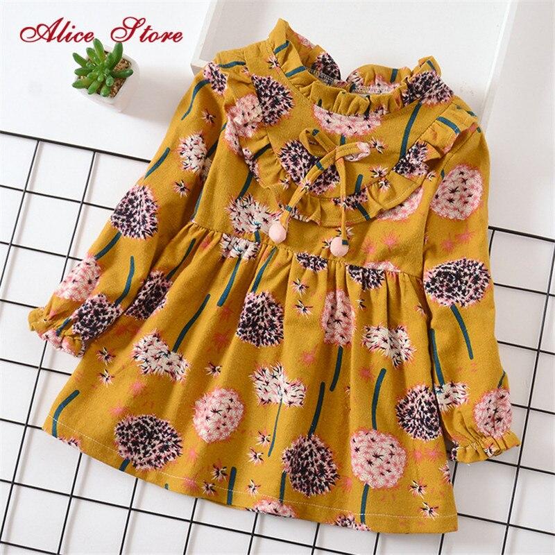 Детские платья для девочек; осеннее платье принцессы с длинными рукавами и воротником «Питер Пэн»; детская одежда с цветочным принтом и рис...