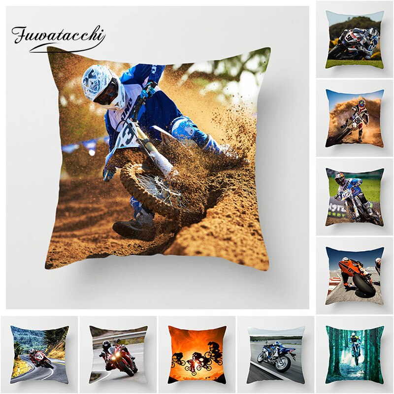 Fuwatacchi Cross-country Polyester Pillow Cover Motorcycle Sports Cushion Cover Home Decorative Pillowcase For Decor Chair sofa