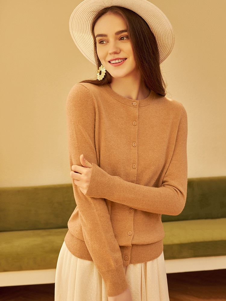 2020 New Pure Mountain Cashmere Sweater Women's round Neck Cardigan Sweater enlarge