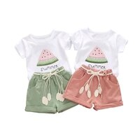 summer baby girl t shirt short sleeve watermelon printing clothes girl clothing cotton kids children clothing sets girls outfits
