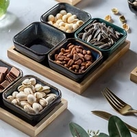 creative ceramic grid fruit plate snack plate serving platter japanese small dish with tray home desktop dried fruit snack tray