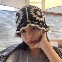 summer hollow crochet flower fisherman hat women version sunscreen sun visor breathable knitted crochet hat