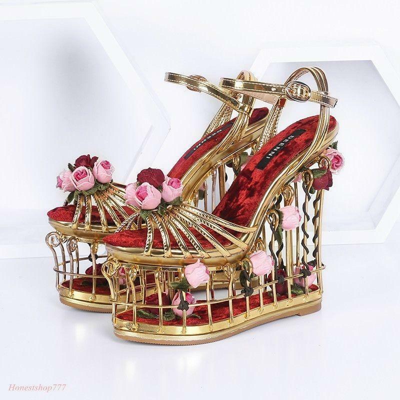 نساء قفص العصافير كعب حفل زفاف مشبك حزام ارتفع رواج صندل مضخات ثلاثية الأبعاد الزهور الفاخرة لتقوم بها بنفسك أحذية مخصص جديد 2021