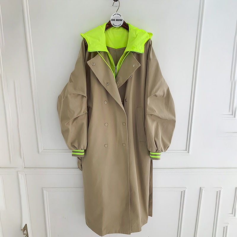2020 primavera otoño nueva gabardina con capucha de talla grande coreano abrigo largo caqui gabardina femenina abrigo caliente Venta Ropa de otoño