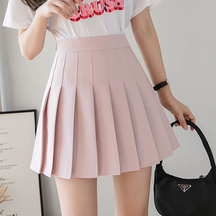 Falda Escuela Japonesa estilo Preppy Mini 2020 nueva primavera verano lindo dulce Rosa Faldas de cintura alta Mujer Saia Mujer Jupe Femme