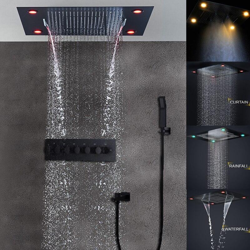 مجموعة رؤوس دش كهربائية للحمام ، أسود غير لامع ، سقف مخفي ، 4 وظائف ، تأثير المطر ، شلال كبير ، صمام تدليك ثرموستاتي