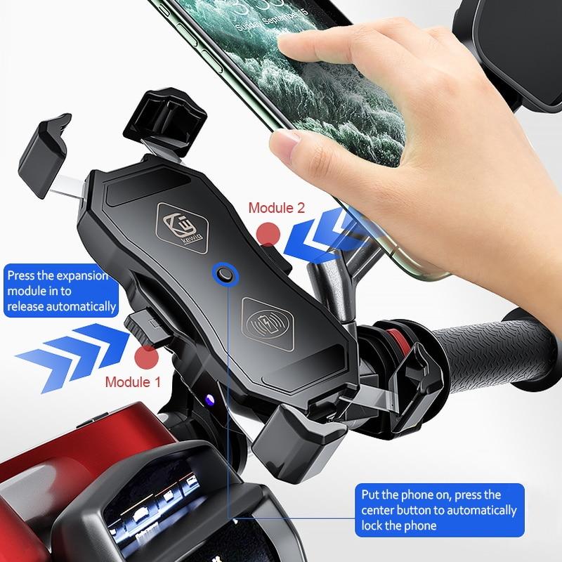 Soporte de teléfono para motocicleta, cargador inalámbrico Qi de 15W QC3.0, Cargador USB para iPhone, Xiaomi, Samsung, soporte de montaje con soporte GPS