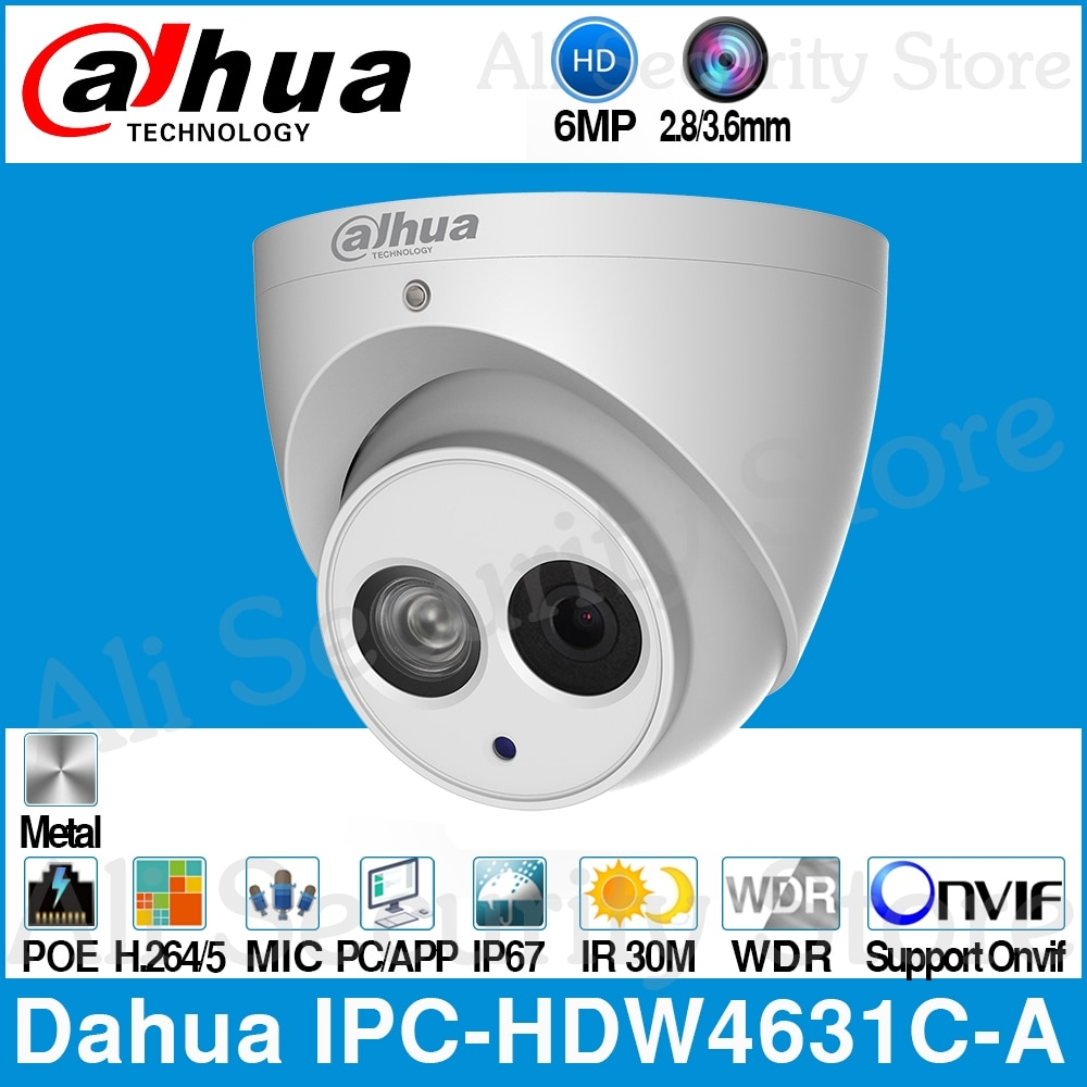 Dahua IPC-HDW4631C-A 6MP HD POE câmera de Rede Mini Dome Câmera IP Caixa De Metal Built-in MIC CCTV 30M Onvif IR Atualizar a partir de IPC-HDW4433C-A