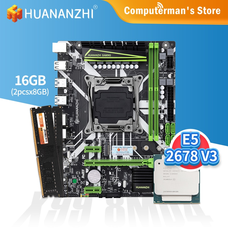 HUANANZHI X99 8M D4 اللوحة كومبو كيت وحدة المعالجة المركزية إنتل زيون E5 2678 V3 الذاكرة 2*8G DDR4 NON-ECC 2400 الذاكرة M.2 NVME USB3.0 ATX