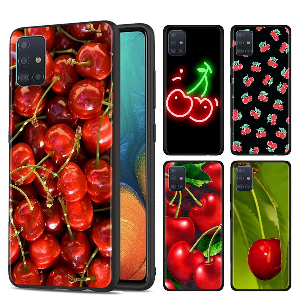 Funda de teléfono para Samsung Galaxy M10s M20 M30s M40 M11 M21 M31 M31s M50 M01 funda de carcasa blanda de cerezas rosadas
