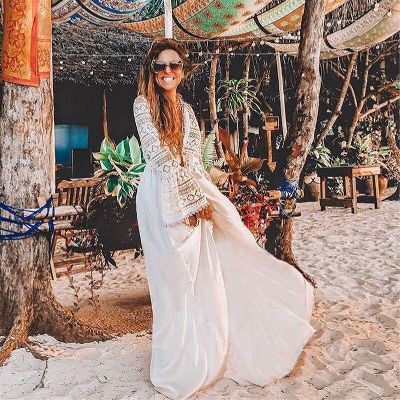 2020 Sexy ahueca hacia fuera el remiendo del cordón cuello pico Flare manga con cinturón abertura en la parte delantera vestido de verano túnica mujeres playa desgaste Maxi vestido Q1051