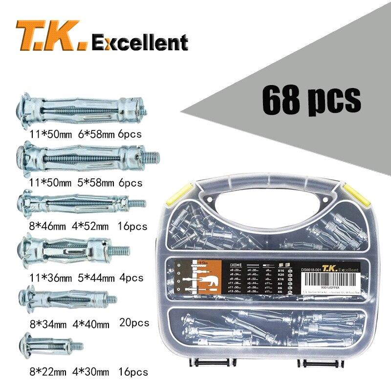 T.K. ممتاز مثبِّت تعليق حائطي مجوَّف مجموعة الصلب والمواد 920 الأجهزة الصلب ذيل مسطح أنبوب مجوف مرساة 68 قطعة