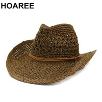 hoaree western cowboy hat women sun hat cowgirl summer hats for men hollow out lady straw hat brown beach cap panama