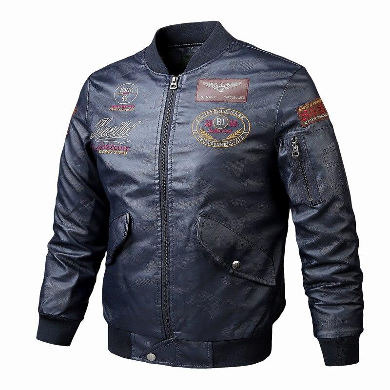 Thoshine Brand Spring Autumn Winter Men Leather Jackets Punk Style Print Male Fashion PU Leather Coat Pattern Motorcycle & Biker