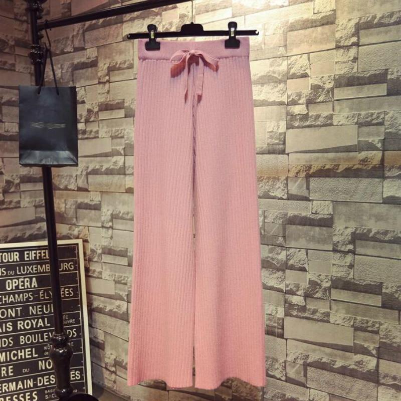 SETWIGG para mujer, pantalones de punto de pierna ancha de lana a rayas, cintura elástica, Draw String Casual, pantalones sueltos hasta el tobillo