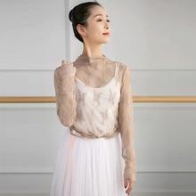Herbst Winter Weiß Schwarz Khaki Elastische Stickerei Spitze Langarm Ballett Trikot T Shirt Dance Top Erwachsene Ballerina T Shirts