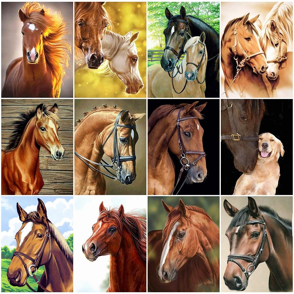 Pintura de diamantes HUACAN, cuadro completo bordado de diamantes con caballos, imagen de animales 5D Diy, mosaico de diamantes de imitación para decoración del hogar