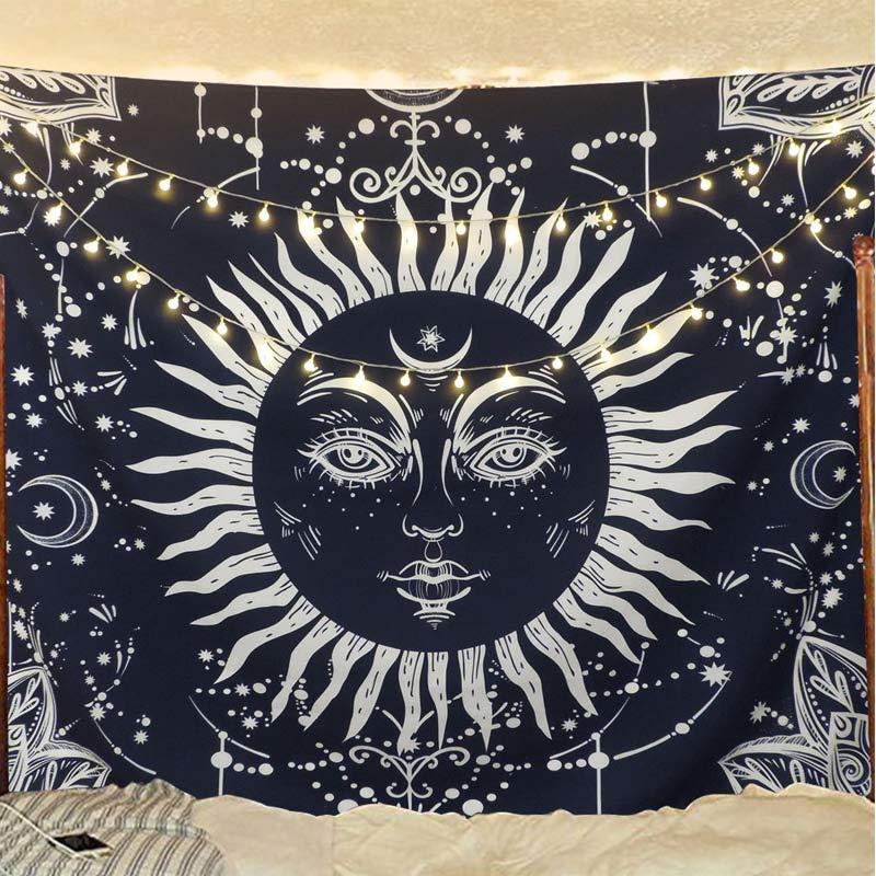 Tapiz para colgar en la pared con diseño de dios del sol blanco y azul oscuro, tapiz decorativo de Mandala para el hogar, tapiz decorativo de pared, mantel Hippie, tapices