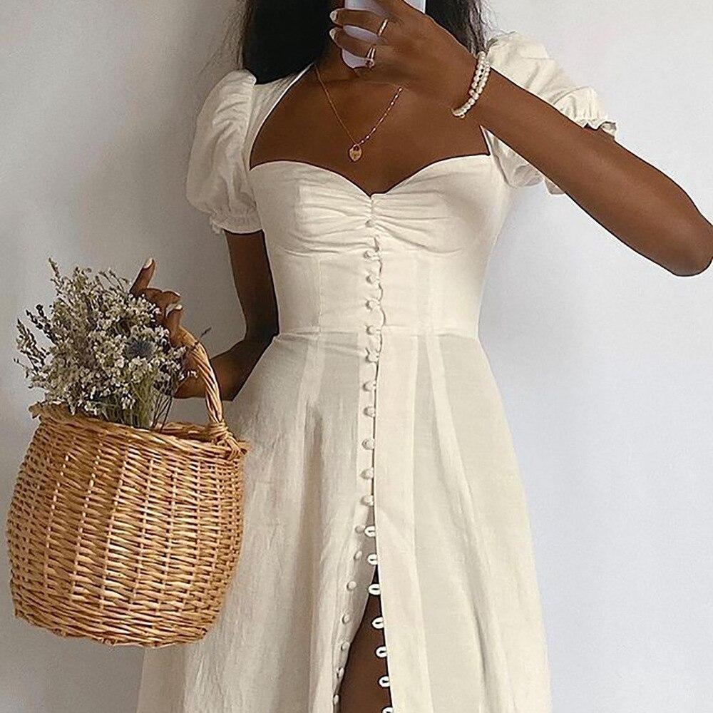 Vintage Solid Button Midi Dress Sexy Party Club Bodycon Strapless High Split Dresses Women Spring Autumn Casual Vestidos