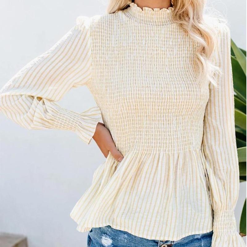 Camisa de Blusa de lino de algodón a rayas Casual de WHOSONG para mujer camisa de manga de volantes elegante Blusa de otoño para mujer