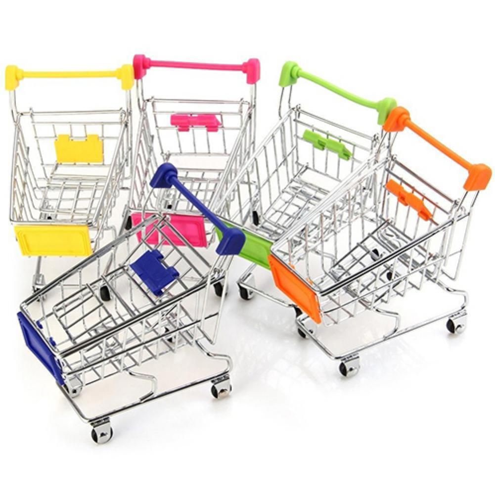 Ручная тележка для кукольного домика, супермаркета, миниатюрная Тележка для покупок, настольная декоративная корзина для хранения игрушек ...