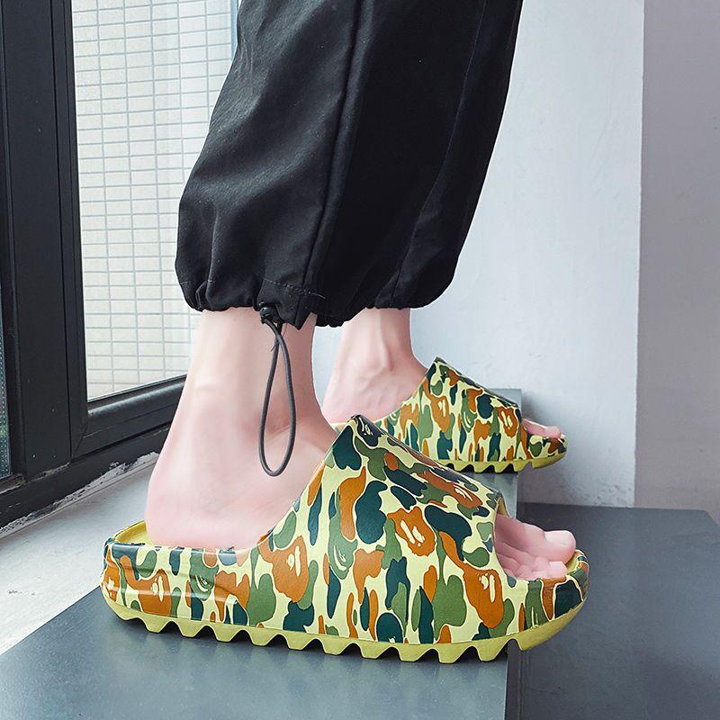 WEH Slippers Men camouflage shoes men thick sole slippers indoor 2020 summer home Slides Soft Sole Men Flip-flops room shoes