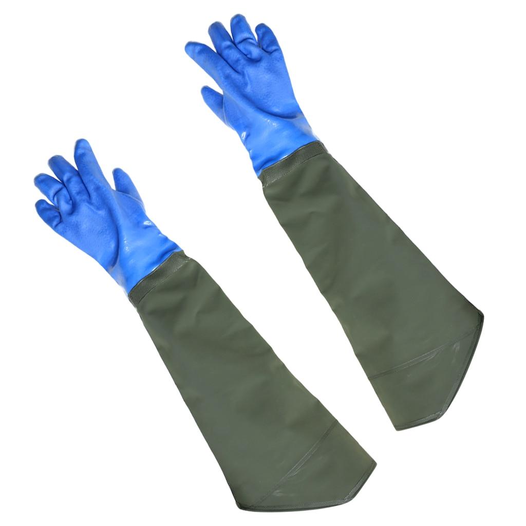 1 par de guantes de pesca impermeables gruesos de PVC para pescar con terciopelo