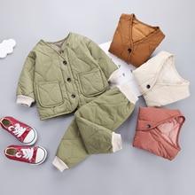 New Winter Children Keep Warm Clothes Autumn Kids Boys Girls Thicken Cotton Jacket Pants 2Pcs/sets B