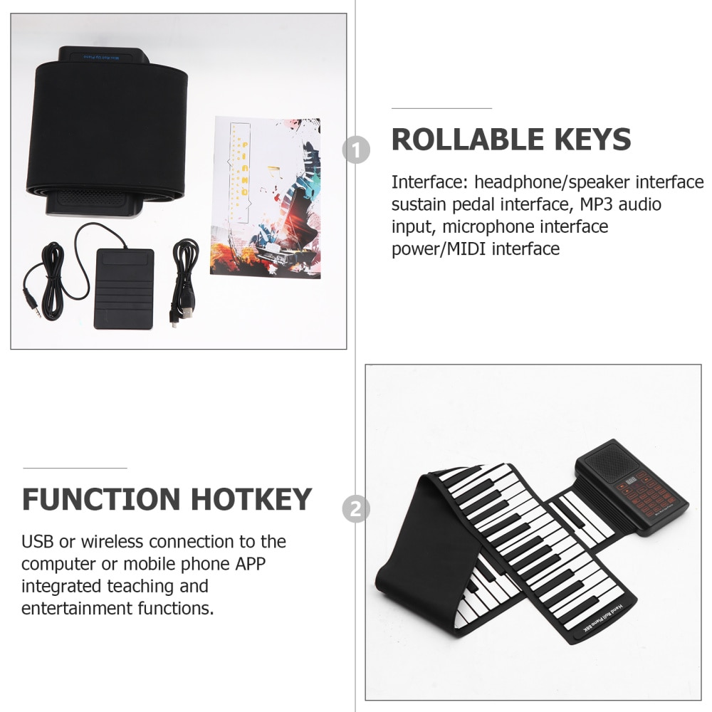 88 Keys Foldable Piano Portable Rechargeable Hand Rolled Electronic Piano enlarge