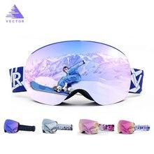 Magneten OTG Ski Brille UV400 Snowboard Schnee Gläser Anti-nebel Austauschbar In Objektiv Und Rahmen Sphärische Breite Ansicht Sonnenbrille
