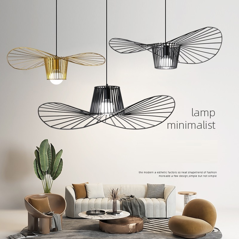 Chapéu de palha lâmpada pingente nordic minimalista criativo sala jantar quarto designer luz luxo lustre ferro industrial