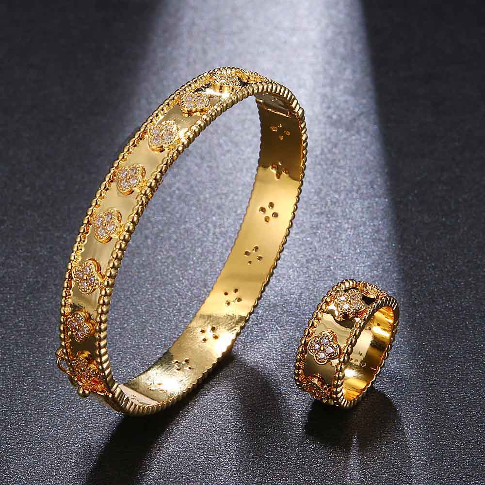 HONGHONG High Quality 3A Zircon Bangle&Rings 2Pcs Sets for Women Flower shape bracelets&Ring set Fashion Jewelry