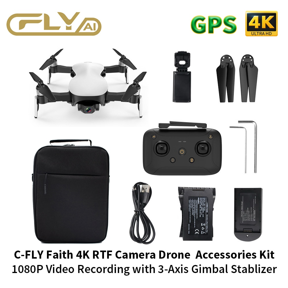 C-FLY Faith Intelligent Drone Quadcopter RC Drone 4K GPS with Professional Camera HD Video 1-3KM FPV 3-Axis Gimbal 35Min Flight