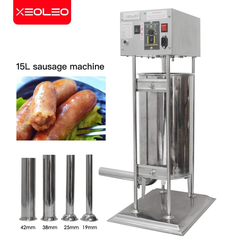 Xeoleo التجارية الكهربائية جهاز حشو السجق 15L ماكينة تعبئة النقانق التلقائي الفولاذ المقاوم للصدأ آلة لحشو السجق 110/220 فولت
