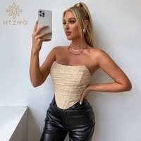 htzmo lace mesh top women summer sleeveless tank top 2 layer boning padded strapless ruched bustier street sexy corset 2021