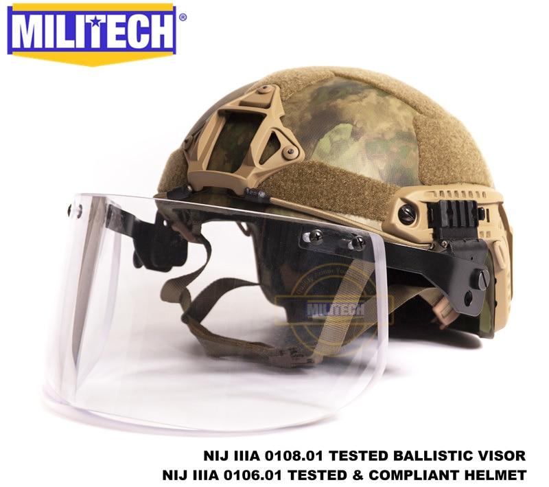 MILITECH Atacs FG Deluxe NIJ IIIA FAST Bulletproof Helmet and Visor Set Deal Woodland Camo Ballistic Helmet Bullet Proof Mask