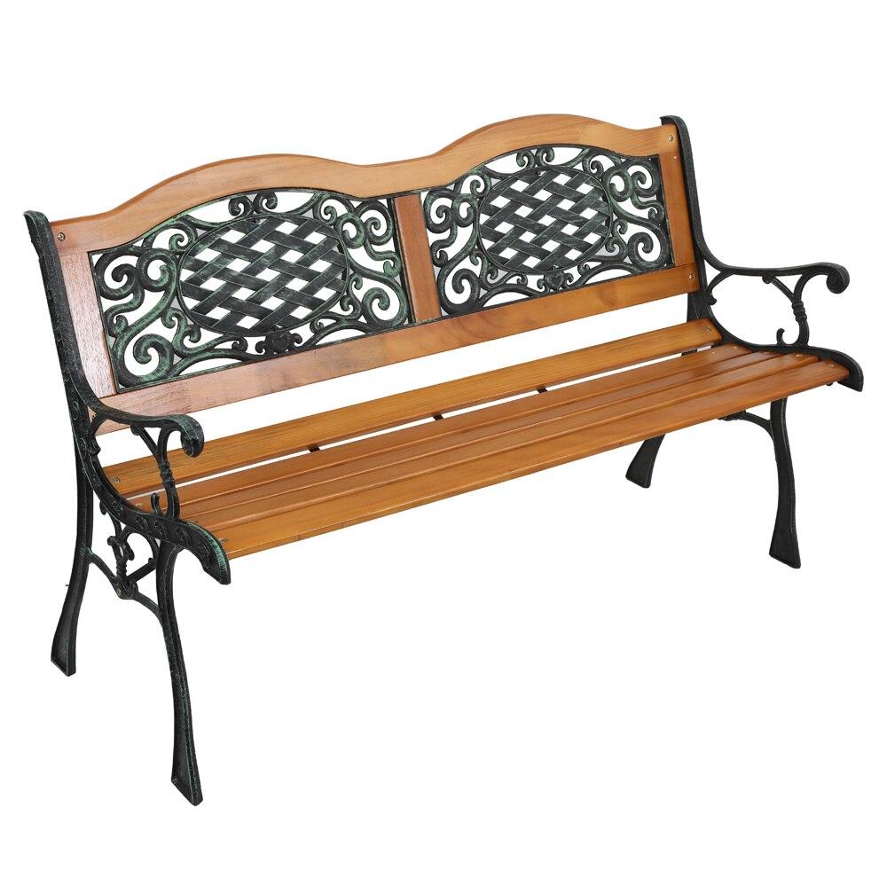 49in في الهواء الطلق الباحة مقعد حديقة كرسي حديقة مقعد الأثاث الخشب الصلب الشرائح إطار حديد الزهر سهلة لتجميع الأسهم الولايات المتحدة نظيفة