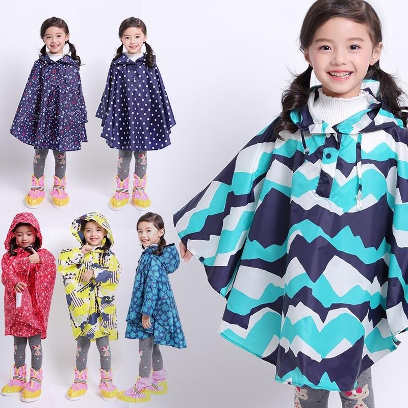 Freesmily Kids Stylish Rain Poncho Waterproof Rain Jacket Coat For Girls Boys