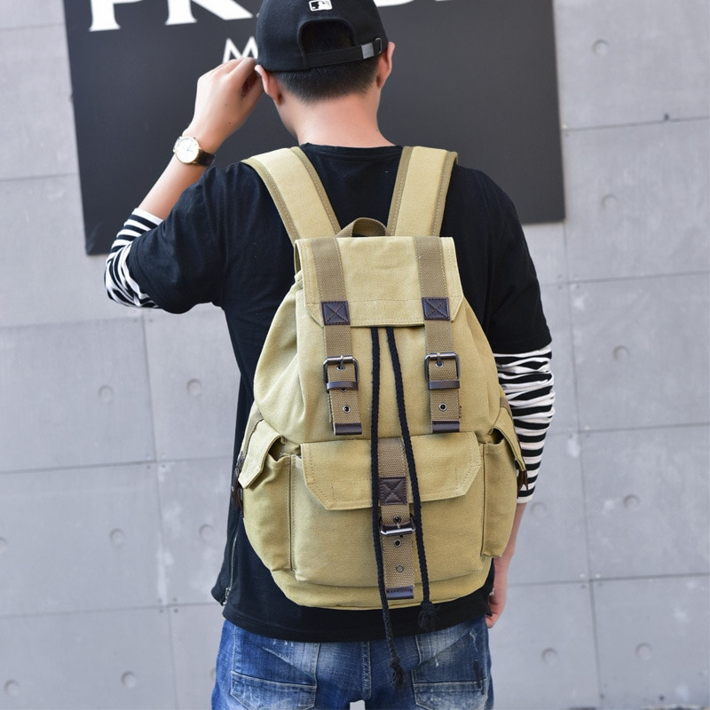 Canvas Backpack Unisex Backpack Retro Casual Travel Bag Large Capacity Schoolbag Green Backpack Hiking