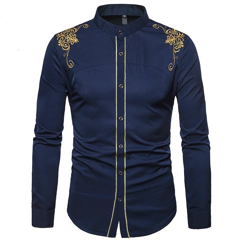 Men Fashion Shirts Palace Embroidery Long Sleeve Muslim Tops Shirt Saudi Arabic Blouse Men Autumn Clothing Islamic Black Casual