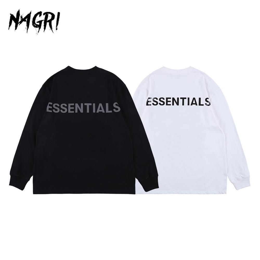Jersey NAGRI Hip Hop para hombre, camiseta de manga larga, camiseta Punk con gráfico esencial, camiseta informal holgada con letras estampadas para verano