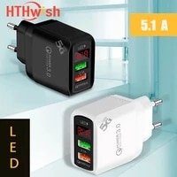 quick charge 3 0 usb charger for iphone 11 7 xiaomi samsung huawei redmi 5 1a digital display fast charging wall phone charge