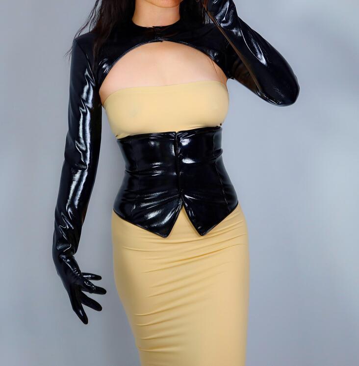 Patente feminina preto plutônio couro conjoined jaqueta luvas longas feminino ultra longo moda longa luva de festa de couro r2666