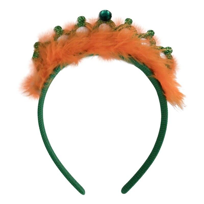 Tiara de corona del Día de San Patricio con tocado de plumas diadema de corona verde suministros para fiestas