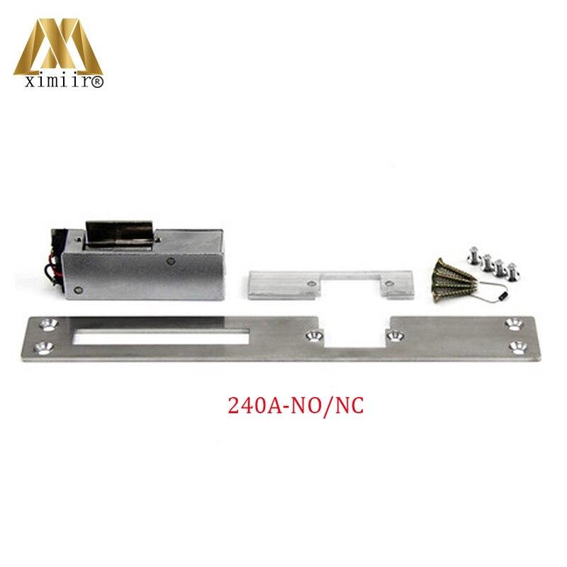 Cerradura de puerta eléctrica tipo europeo de larga duración para abrir sin buena calidad, Control de acceso de puerta 12V, cerradura eléctrica 240A